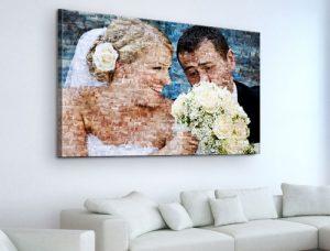 Foto mosaico lienzo boda ramo