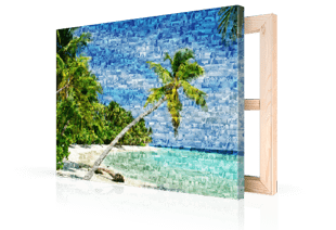 Foto mosaico lienzo playa tropical