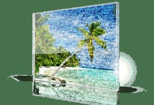 Foto mosaico metacrilato playa tropical pequeño