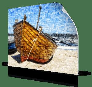 Foto mosaico poster barco en playa