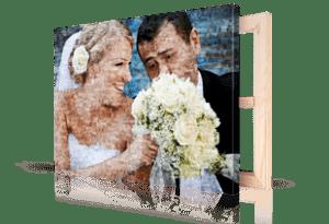 Foto mosaico sobre lienzo pareja boda pequeño