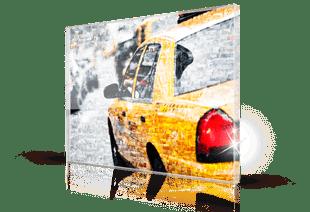 Foto mosaico sobre metacrilato taxi pequeño