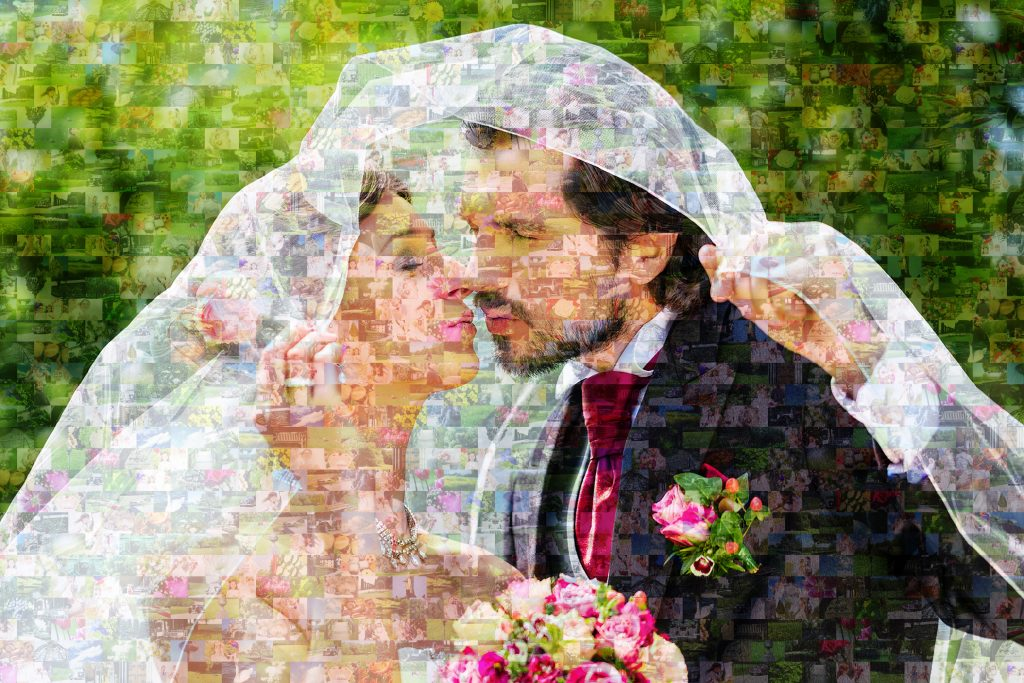 Foto mosaico zoom pareja boda