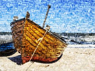 Barco en foto mosaico