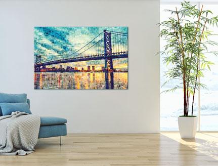 lienzo mosaico puente salon