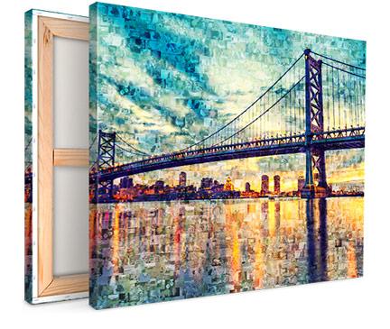 lienzo mosaico puente