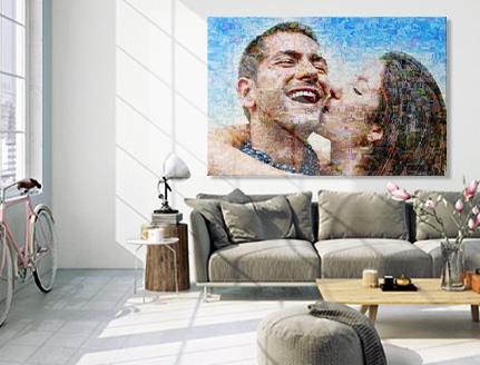 salon mosaico lienzo pareja