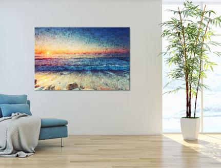vista mosaico aluminio dibond playa en salon