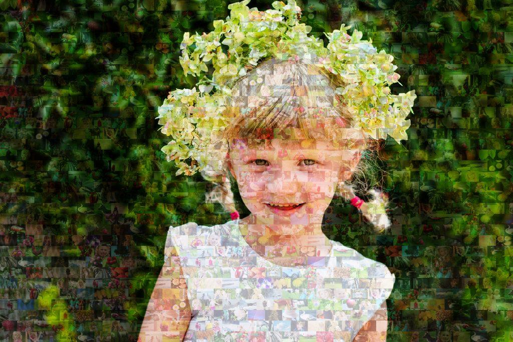 zoom mosaico niña